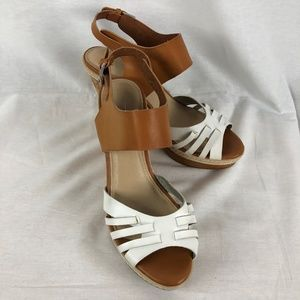 Cato Size 10 White Tan Wedge Sandals 4 Inch heel